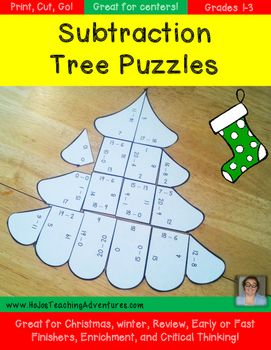 These Christmas Math Centers Subtraction Tree Puzzles make it quick and easy for teachers to provide hands on activities that meet the needs of all students! All three puzzles are engaging and fun!Want to save some money AND have subtraction math center puzzles for the entire school year?