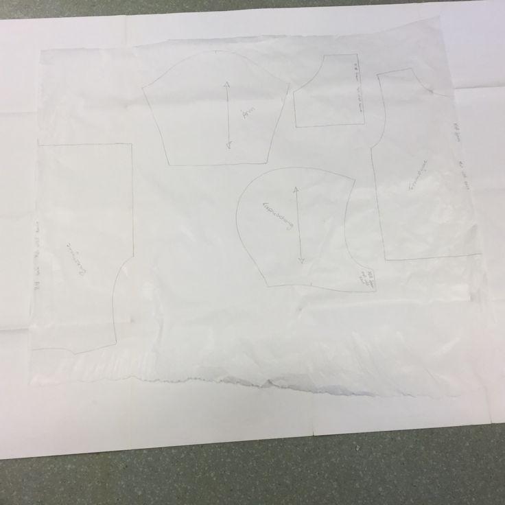 1. När du mätt vilken storlek du ska ha ritar du av mönstret på mönsterpapper. Tänk på att rita och skriva av allt. Klipp ut mönstret med papperssax.