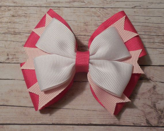 Artículos similares a Valentines Day Hair Bow - Valentine's Day Hair Accessory - Pink and White Hair Bow - 4'' - Single Bow - Ready To Ship en Etsy