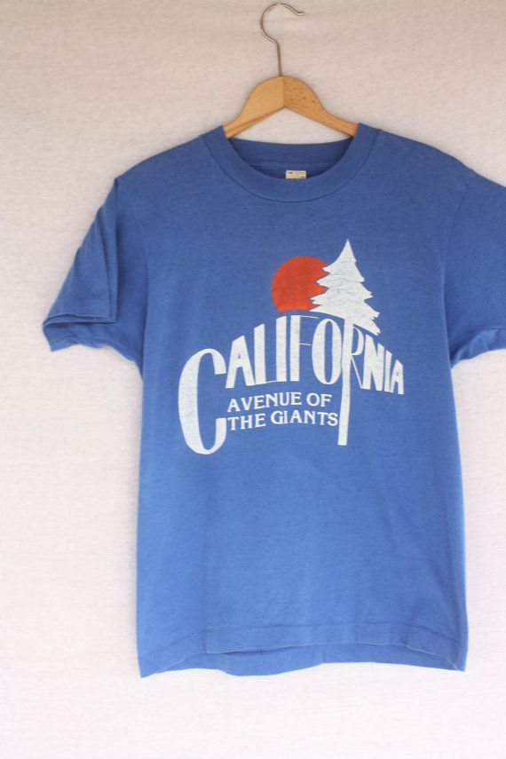 Vintage 80s Thin California Avenue of the Giants Redwoods Setting Sun  Nature Scene State Tourist T Shirt Screen Stars