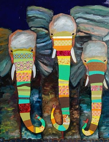 Three Striped Elephants - in oil, mixed media, (fabric and pretty paper) on recycled wood - by Eli Halpin