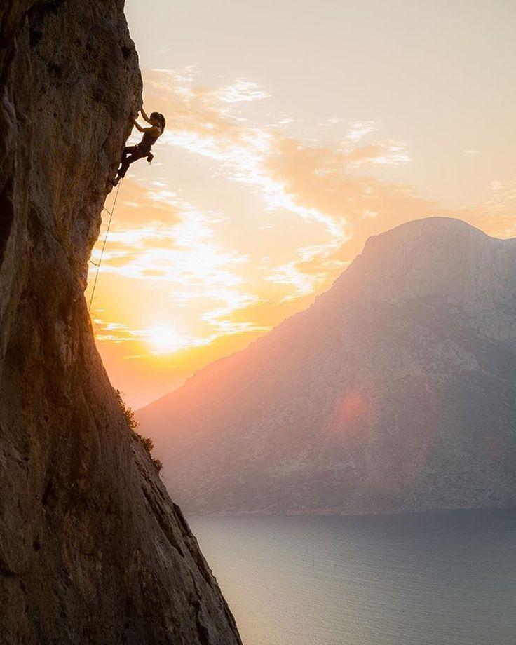 """rannveigaamodt: """" The golden hour right around #sunset.. #kalymnos #climbing…"""