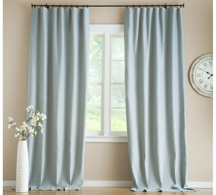 Window linen curtains pottery barn blue curtains draped