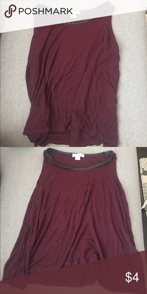 Maroon/burgundy loose tank top Loose tank top, almost crop top but not quite. Faux black leather neckline. Cotton On Tops Tank Tops