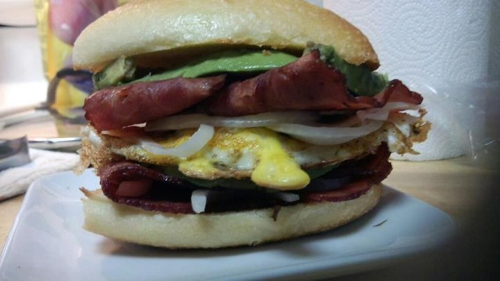 Breakfast Sandwich, Turkey Bacon, Avocado, Egg, Onion