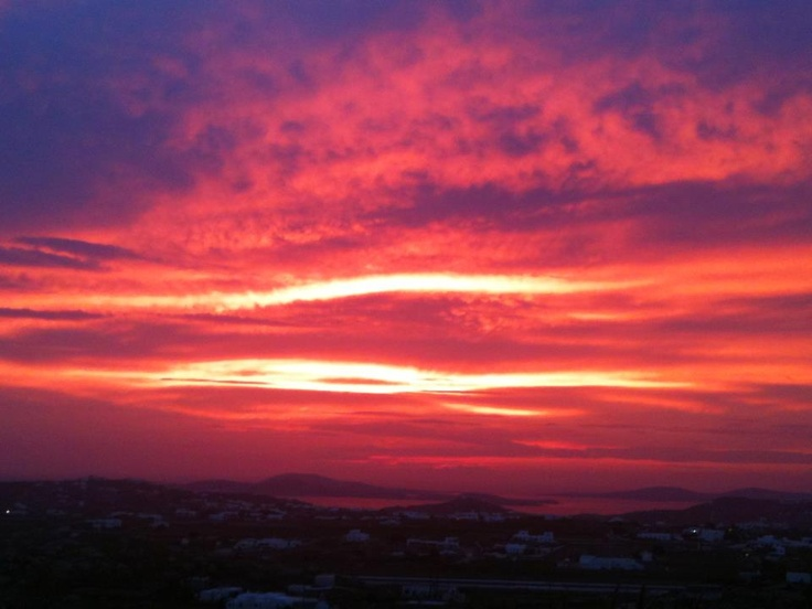 Amazing sunset view from Kounoupas hill in Mykonos - no filters added!