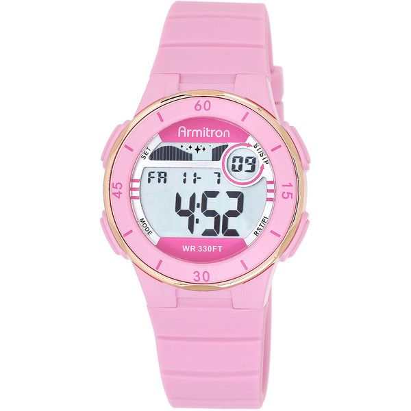 Armitron Womens Pink Digital Sport Watch ($26) ❤ liked on Polyvore featuring jewelry, watches, digital wrist watch, pink wrist watch, dial watches, pink digital watch and alarm watches