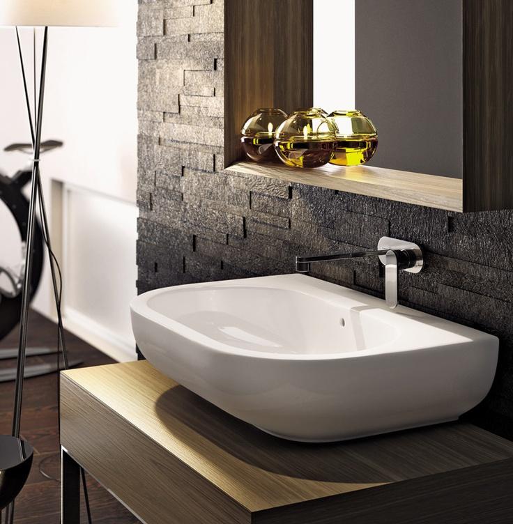 Countertop rectangular washbasin PASS by Ceramica FLAMINIA #bathroom