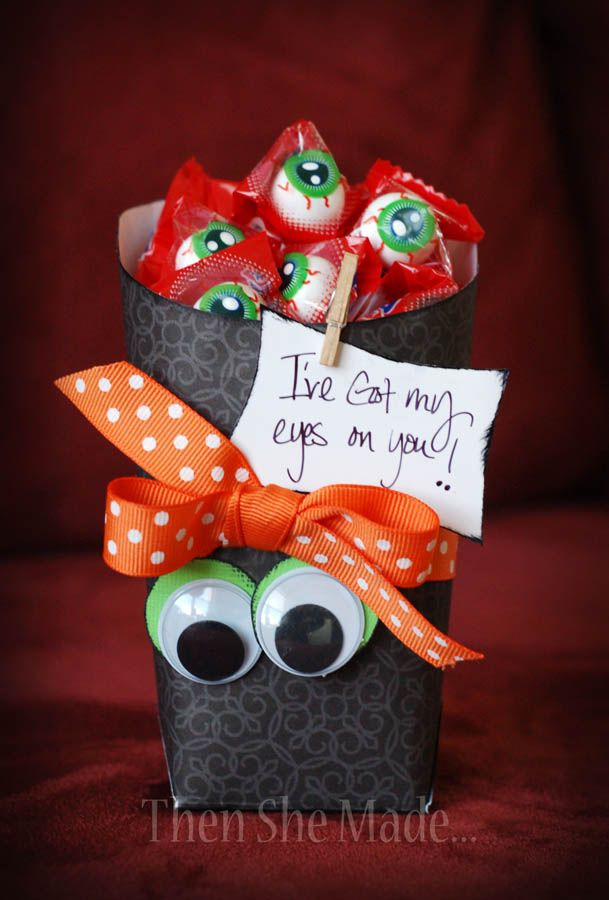 If you need a quick and inexpensive little Halloween themed gift, this is super easy and cheap budget-friendly.  Here's what you need!  - empty fry box (I like the shape of Sonic's tot boxes)  - gumball eyes  - scrapbook paper  - adhesive  - embellishments