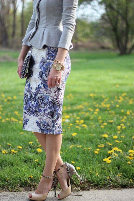 peplum top with blue flourish pencil skirt