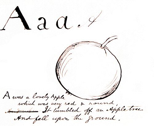 A was a lovely Apple, which was very red and round..., by Edward Lear. England, late 19th century