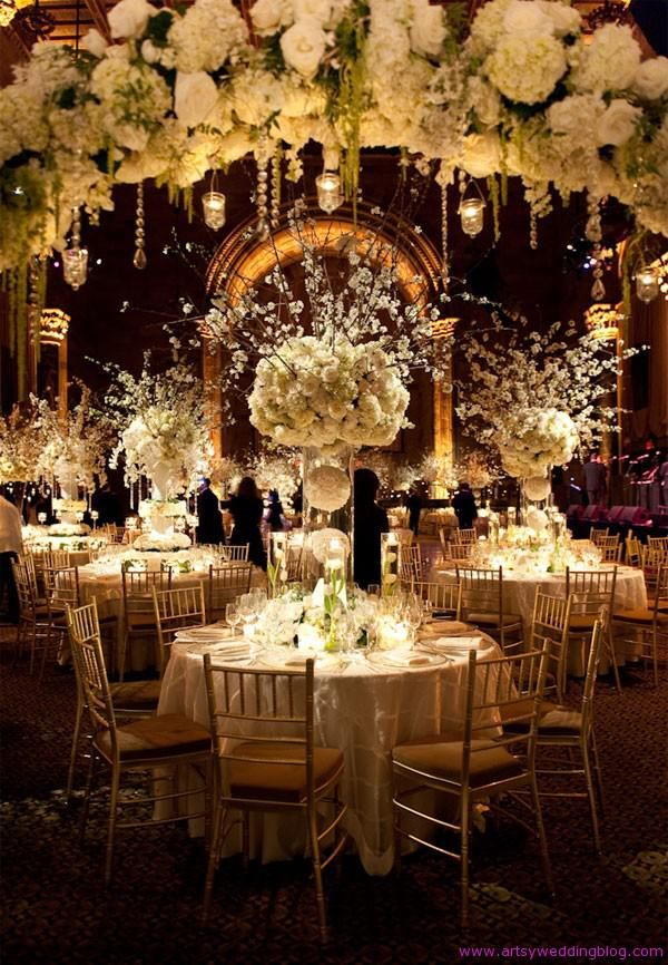 winter wedding venue | Adorable Fall Or Winter Glam Wedding Centerpieces