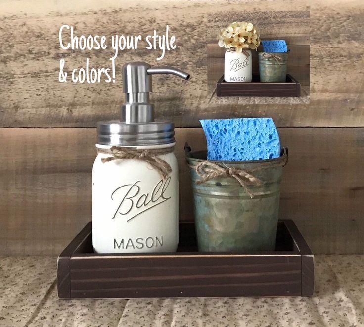 Sponge Holder Mason Jar Soap Dispenser Rustic Kitchen