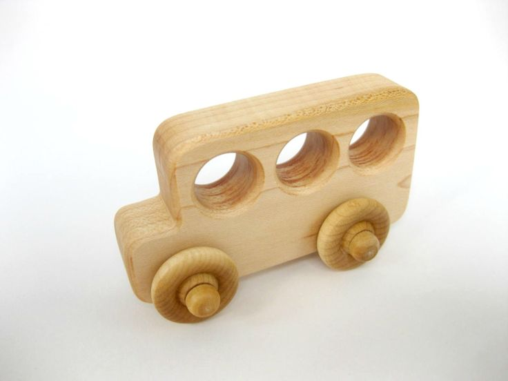 Cute favor! Little Wood Toy School Bus Natural Maple by GreenBeanToys on Etsy, $7.00