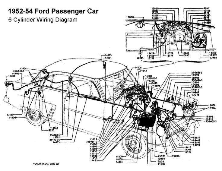 Wiring diagram for 1952-54 Ford (6 Cyl)