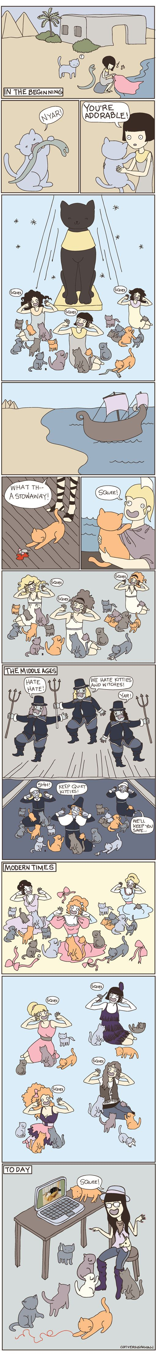 "Cats through the ages. via Buzzfeed, but credit goes to ""cat versus human"" comic. which is the best."