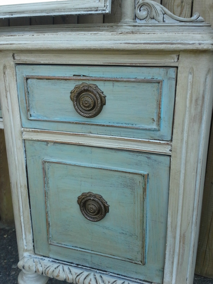 Antique Vanity in color Paris Grey Wash over color Provence...Chalk Paint® by Annie Sloan