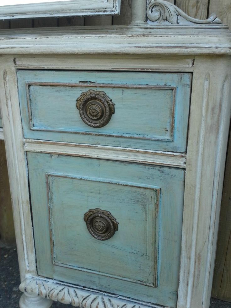 Antique Vanity in color Paris Grey Wash over color Provence...Chalk Paint® by Annie Sloan