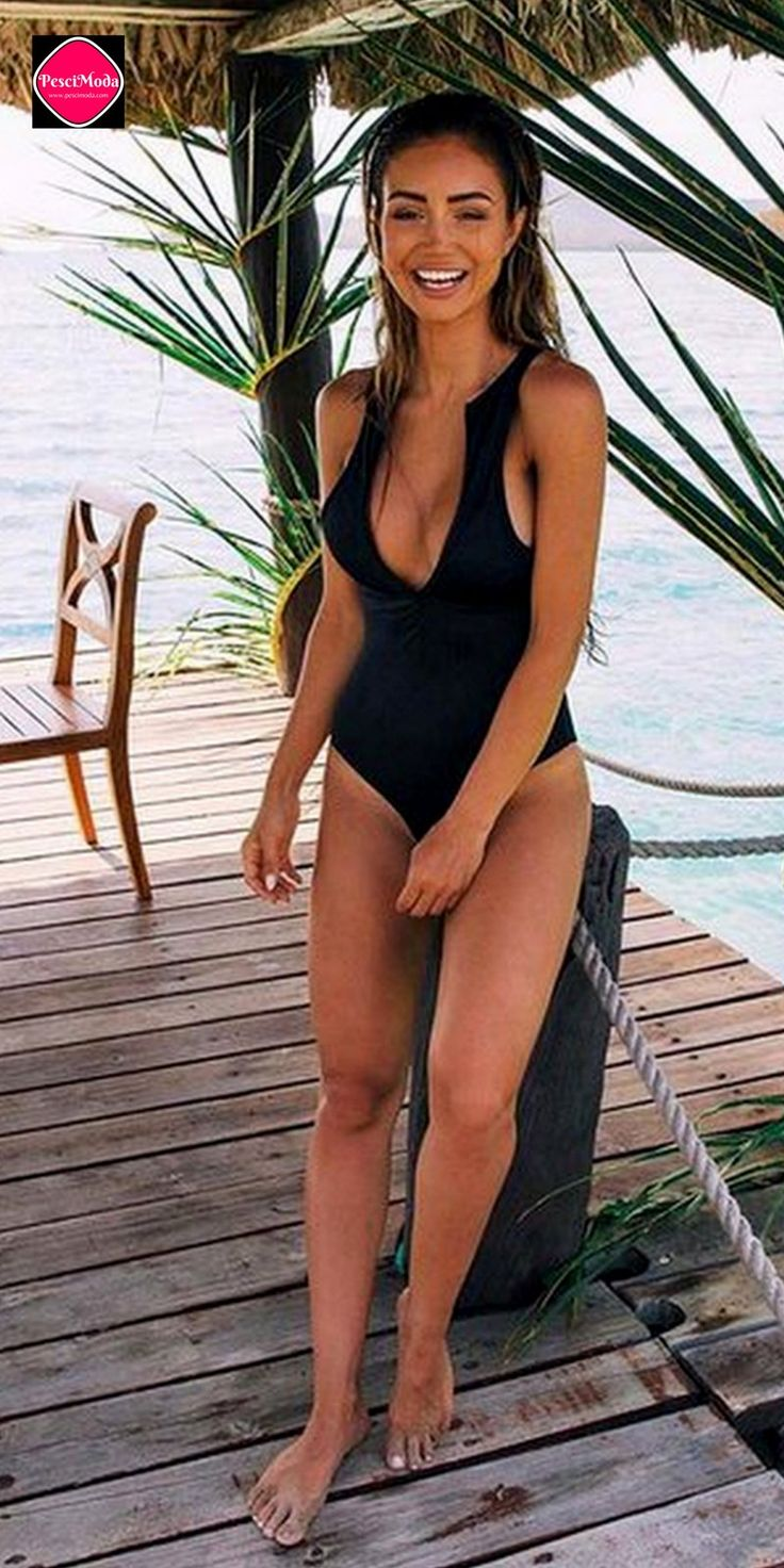 Product Description: Cute Swim Fashion Woman's Black Simple Round Neck Swimsuit with Zipper by PesciModa Color: Black, Size: M, L, XL, 2XL, Material: Nylon, Pattern Type: Solid, Neckline: O Neck, Stre