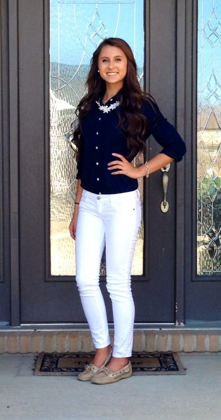 Ootd: Top: J.Crew (thrifted!) Pants: Abercrombie Kids Necklace: TJ Maxx bracelet: J.Crew Shoes: Sperry Topsiders