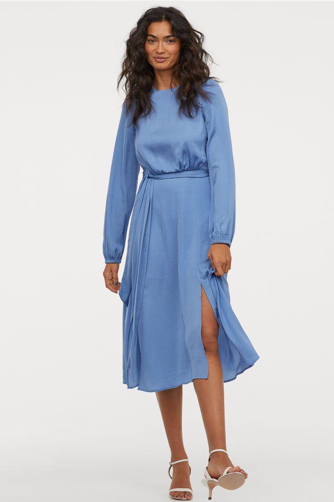 2ab5382e5d026 Crêped Satin Dress - Pigeon blue - Ladies