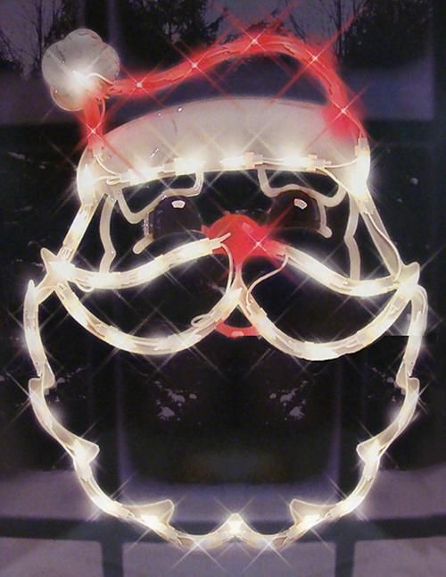 """18"""""""" Lighted Santa Claus Face Christmas Window Silhouette Decoration"""