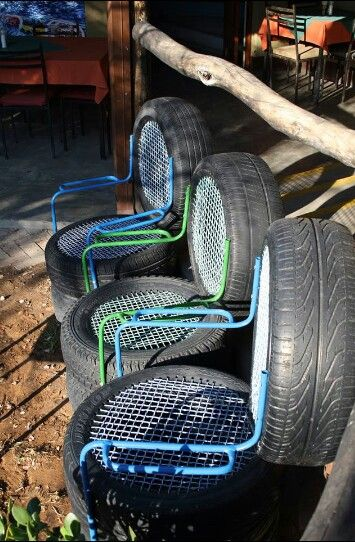 Nice garden chairs from tires