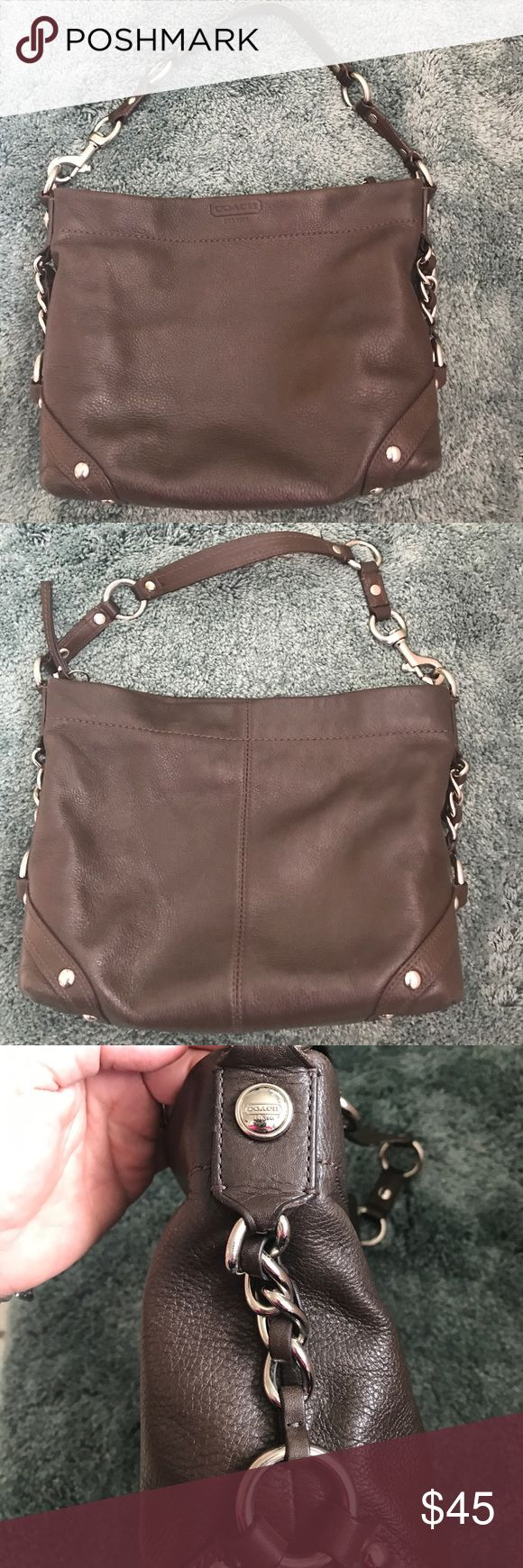 Lovely Dark Brown Coach Purse! Purple interior that needs some cleaning!  Still in pretty good shape! Coach Bags Shoulder Bags