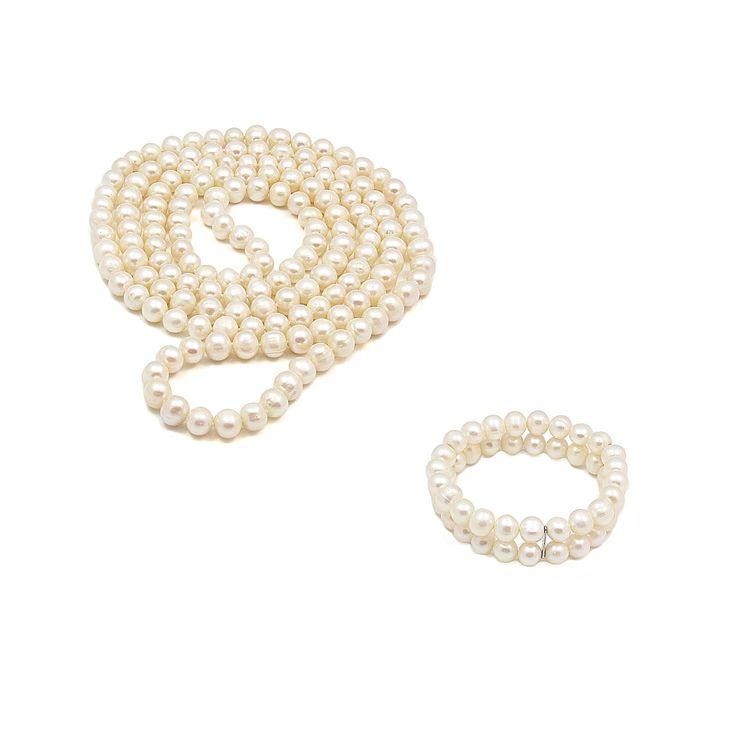 Set ZEEme Eleganță Rafinată argint cu perle de cultură albe (colier 120 cm, brățară dublă)