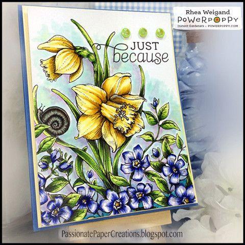Dancing with Daffodils Digital Stamp Set | Power Poppy by Marcella Hawley. Card design by Rhea Weigand.