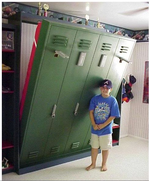 Lockerroom murphy bed credit: Wall Beds n More [http://wallbedsnmore.com/blog/2011/07/10/unique-ways-to-use-murphy-wallbeds/]