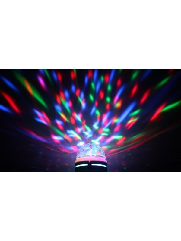 The perfect party light! Stunning LED moonglow effects from a new rotating bulb Fill the room with coloured points and patterns. Easy Plug&Play operation or plug it in to your light fitting with the ES or bayonet cap adapter. House party essential!