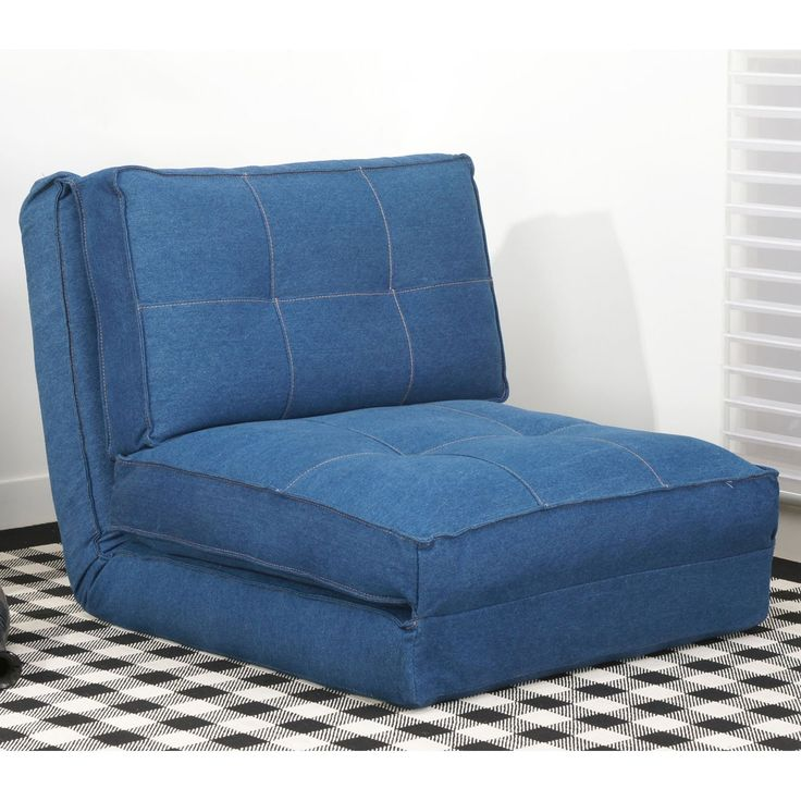 Leader Lifestyle Leveson Denim Fabric Chairbed - 3FT Single Chair Bed - Blue Denim Folding Guest Bed - Childrens Sofa Bed - Blue Finish