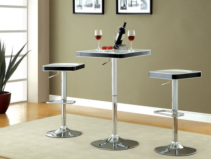 Veria Modern Style White Top And Black Trim Rounded Square Top Adjustable  Height Bar Table With