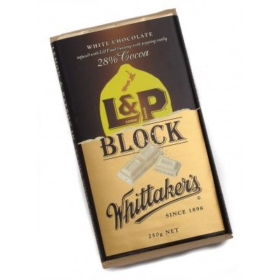 Whittaker's 250gm L&P Block combines Whittaker's white chocolate with lemony flavoured popping candy reminiscent of New Zealand's iconic fizzy Lemon and Paeroa drink. A wonderful marriage of two iconic New Zealand made products. The perfect size for sharing or keep it for yourself and indulge in the wonderful flavours of this New Zealand made chocolate. Free from palm oil, it's good honest chocolate with a conscience  See more at www.entirelynz.co.nz/food
