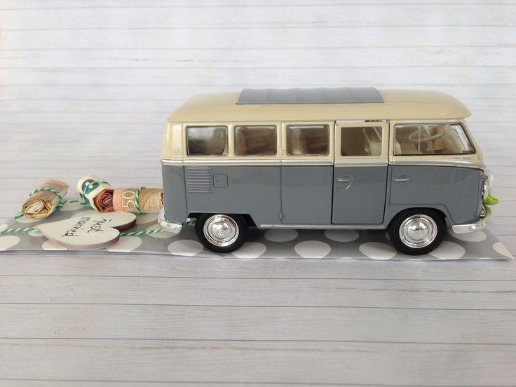 Geldgeschenk zur Hochzeit, cooles Hochzeitsauto VW Bulli Retro, Vintage grau über http://de.dawanda.com/product/107622903-hochzeitsauto-vw-bus-t1-grauweiss-geldgeschenk