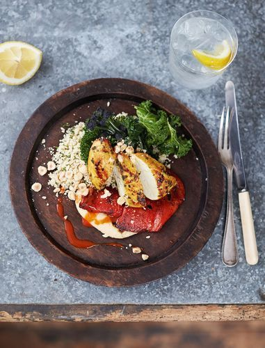 This seared turmeric chicken dish, from Jamie Oliver's cookbook Everyday Super Food makes a tasty and healthy evening meal. Tumeric is super-high in iron and contains manganese, keeping our bones strong and healthy. Serve with Jamie's Skinny Homemade Houmous, couscous, greens and roasted red peppers.