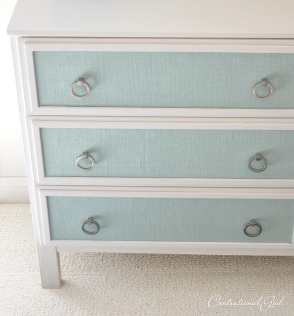 Blue burlap panels on dresser - Ikea furniture make-over!