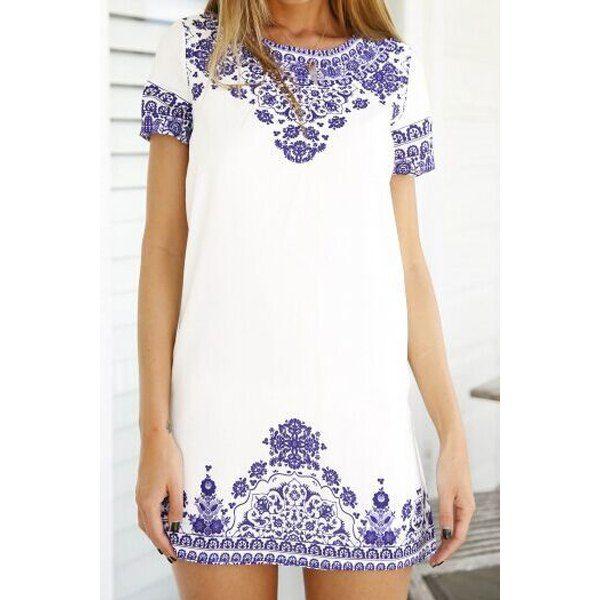 blue + white embroidered shift dress