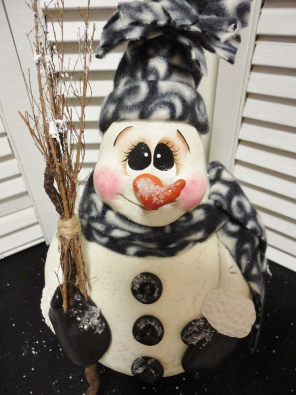 christmas gourd art | ... about Handpainted Primitive Christmas Winter Snowman Doll Gourd