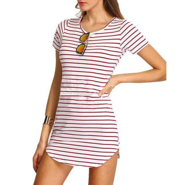 Summer Dress Striped Women Dress Black and White Mini Dress