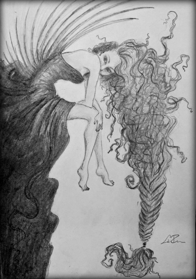 Daydreaming girl with curly hair - Pencil drawing by Flora Laszlo, 2012