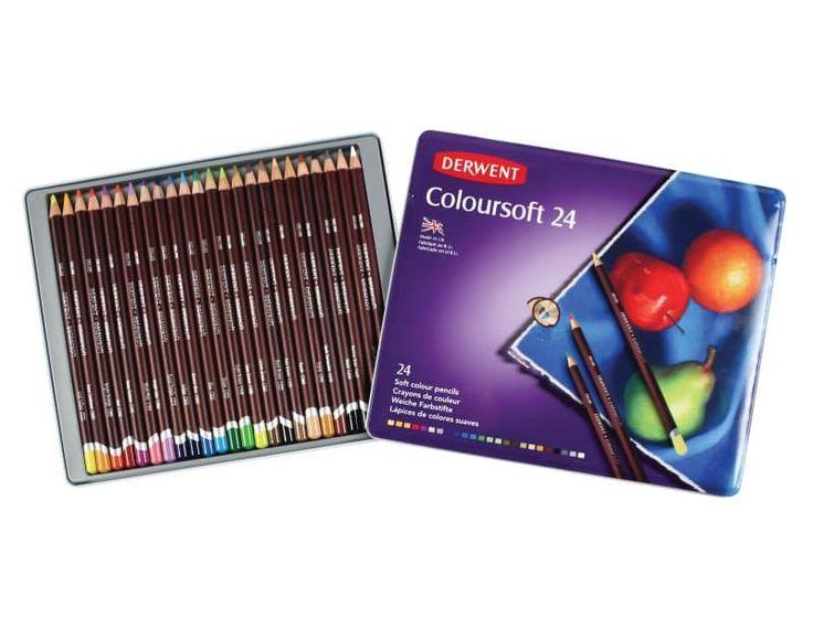 DERWENT COLOURSOFT MŰVÉSZ SZÍNES CERUZA 24 színű készlet fém dobozban  A bársonyosan puha bél egyetlen ceruzavonással gazdag és tömör, keveréshez is tökéletes színt ad.