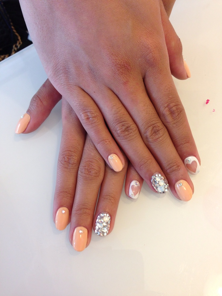 Peach Nails With A White Clear Hearts Nails Story Pinterest Accent Nails Feelings And