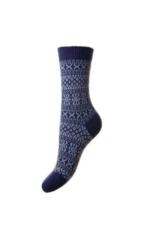 Campbell's of Beauly - Cashmere FairIsle Bed Socks Blue