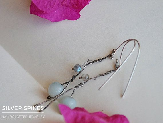 Sterling silver earrings with labradorite and by SilverSpikesShop