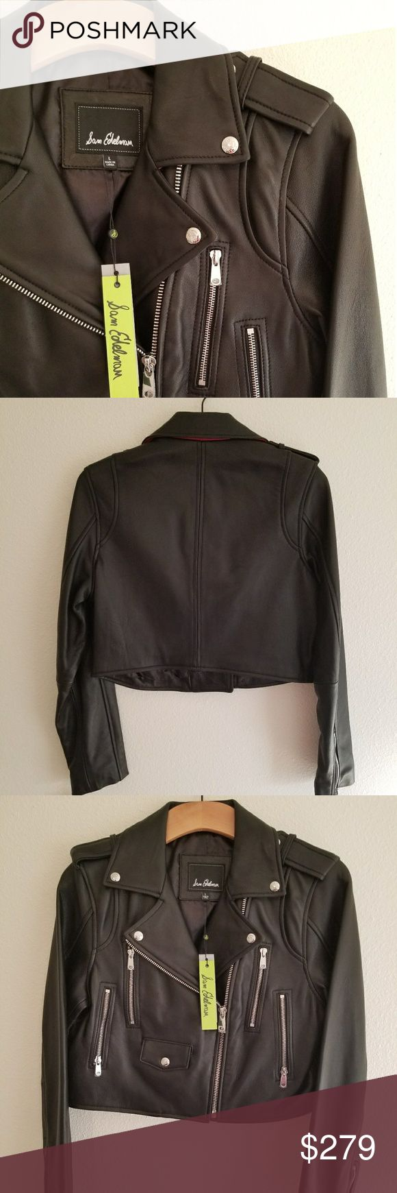 NWT* Sam Edelman Leather Jacket* NWT* Sam Edelman Leather Jacket*A bright crimson undercollar revs up the road-ready swagger of a biker jacket crafted from supple lambskin leather. Size: Large *Front zip closure*Notch collar*Epaulets*Long sleeves with zip cuffs*Four front zip pockets; snap-flap ticket pocket*Lined Genuine lambskin leather* Reasonable Offers Accepted* Sold out* Bundle & Save* You never know until you offer* Sam Edelman Jackets & Coats