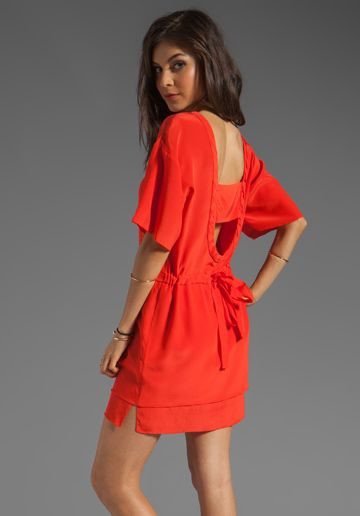TRACY REESE Soft Solids Bi-level Dress in Red Freckle