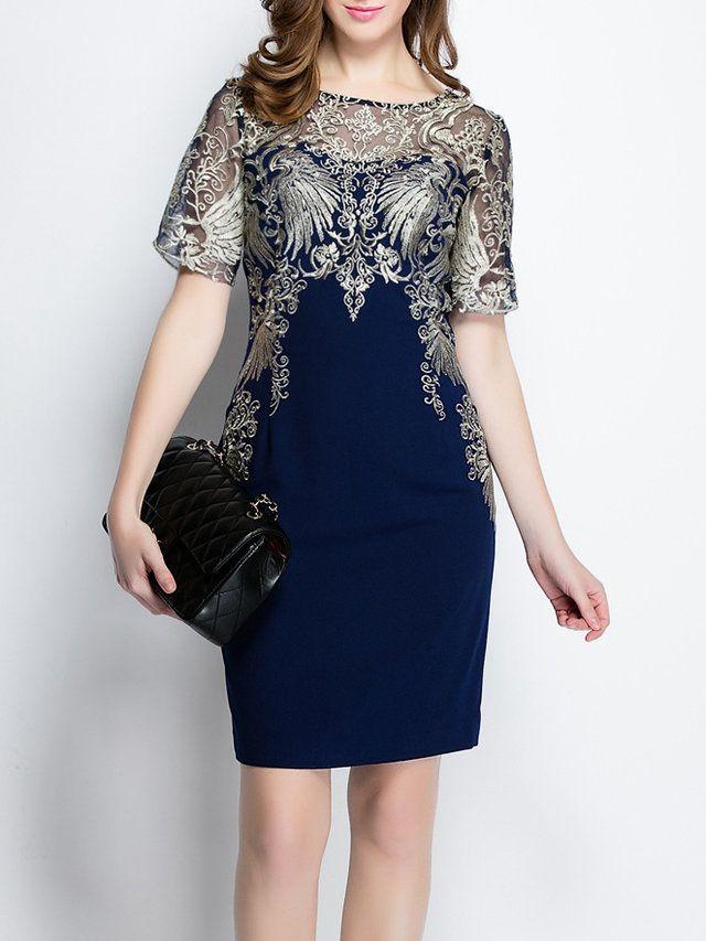 Dark Blue Polyester Short Sleeve Mini Dress