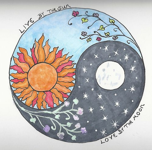 sun moon yin yang. With morning glory and moon glow flowers. This might be my next tattoo